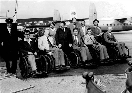 Photo:The British team flying out, 1960s