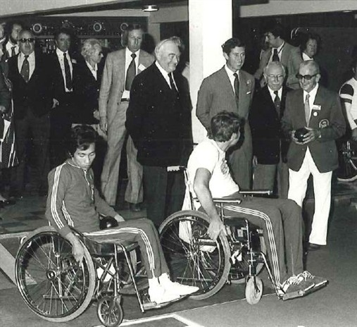 Photo:Prince Charles, Sir Ludwig Guttmann and Jack Sutherland in the Indoor Bowls Centre at the 1973 International Games. The Prince was a great supporter and came to Stoke Mandeville to open the games each year.