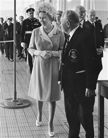 Photo:Guttmann attends the Queen at the opening of the sports centre in 1969