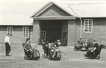 "Photo:""Look at the change in wheelchair design! They have got the larger wheels at the front; they would have been much harder work and with an awkward weight distribution."""