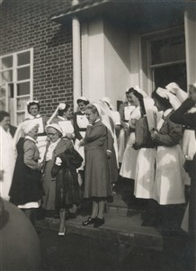 Photo:Stoke Mandeville nurses in 1949 at the retirement of a Matron
