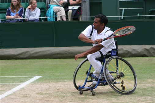 Photo:Jayant Mistry playing professional tennis in the 1990s